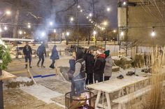 Borrow some skates and order some spiked coffee–the bar's new ice rink is the coolest place to be this winter.