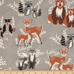 Hello Bear Oh Hello Fog Woodland Animal Print Bonnie Christine Art Gallery Fabrics Gray Boy Fabrics Deer Owl Fox Bears Forest Animals by SunnysideFabrics Forest Animals, Woodland Animals, Woodland Critters, Woodland Fabric, Deer Art, Thing 1, Mini Crib, Art Gallery Fabrics, Woodland Nursery