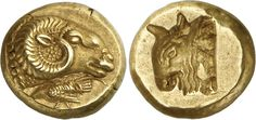 Very Rare Electrum Hekte from Mytilene, Lesbos, C. 521-478 BCObverse: Head of a ram facing to right, a rooster walking to left below, pecking at the ground. Reverse: Incuse head of a bull facing to left. Extremely fine, very rare. The mythology...
