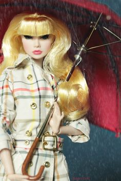 Photo theme rules: Think raincoats, rain boots, and umbrellas! Show us how your doll dresses on rainy days. Whether she's cute and bundled or sleek and sexy, show us that your doll looks fabulous even if it's dreary outside. Last day to submit photos for themes R - T is today -- Happy Halloween! This photo: C'est Si Bon saves the (rainy) day for me after a few failed attempts with other dolls and raingear. Good thing I ordered an umbrella as it came in handy after all! Doll: C&...