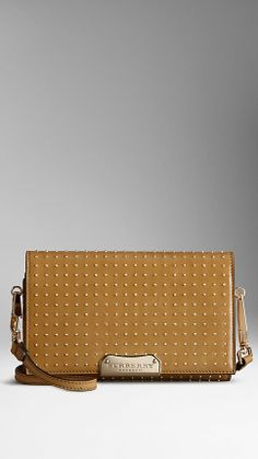 STUDDED LEATHER CROSSBODY BAG - in mid camel