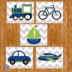 Things That Go Transportation Plane Train Car Boat Bike Wall Art Boy's Room Decor Navy Lime Green Set of 5 Printable JPEG Files 8x10 (129)