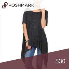 Black asymmetrical loose fit top ONE HOUR SALE Chic short sleeves black asymmetrical loose fit top PLEASE USE Poshmark new option you can purchase and it will give you the option to pick the size you want ( all sizes are available) BUNDLE And SAVE 10% ( sizes updated daily ) Tops Tunics