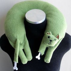 Zombie Cat Travel Neck Pillow  #zombie #zombiecat #neckpillow #travelpillow