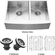 Vigo Industries VG3320BLK1 33 Inch Double Bowl Stainless Steel Farmhouse Sink with 9-7/8 Inch Bowl Depths, 16-Gauge, Sound-Deadening Insulation and Zero Radius Corners: With Strainers and Grids