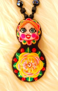 Matryoshka Statement Necklace,avant garde Necklace,OOAK Necklace,swarovski cristal Necklace,pink and yellow rose,art jewelry, gift, kawaii
