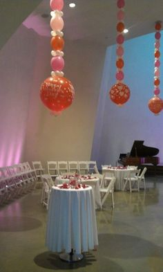Balloon chain Chandeliers at Cathedral of Hope. Balloon Chandelier, Hanging Balloons, Big Balloons, Chandelier Wedding, Wedding Balloon Decorations, Balloon Centerpieces, Wedding Balloons, Balloon Ceiling Decorations, Gazebo Decorations