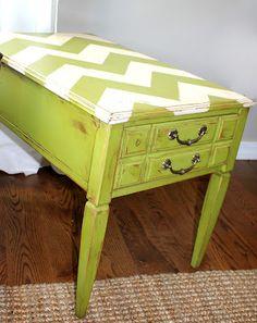 I love the chevron table top. Meg Torman Designing: DIY Vintage End Table