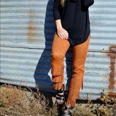 Caramel fringe pants by Crazy Train