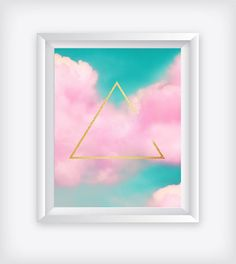 Pink Nursery Wall Art, Printable Cloud, Minimalist Geometric Print, Gold Triangle, 16x20 Poster, Scandi Graphic, Digital Instant Downloads