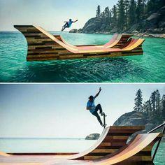Such a good idea, surf and skate! Bmx, Skate Ramp, Skate Surf, Lago Tahoe, Stations De Ski, Extreme Sports, Wakeboarding, Skateboards, Snowboarding