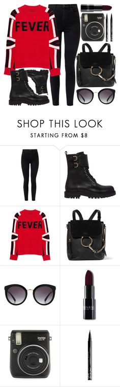 """Fever"" by smartbuyglasses ❤ liked on Polyvore featuring J Brand, Salvatore Ferragamo, Zadig & Voltaire, Chloé, Dolce&Gabbana, Fuji, NYX, black and red"