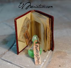 """There are miniature perfume bottles & micro miniature perfume bottles. Then along comes a """"perfume bottle"""" even smaller!   EV Miniatures: Miniature Open Books and Hidden Potion Books"""
