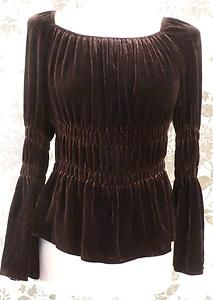 Vintage Velvet Ruched Blouse Top Tunic s 12 40 Victorian Steampunk Party 20'S | eBay