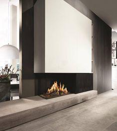 Fireplace Fairo eco prestige 80 by Kal-fire Home Fireplace, Fireplace Remodel, Modern Fireplace, Fireplace Design, Fireplaces, Home Living Room, Interior Design Living Room, Living Room Designs, Cladding Design