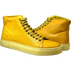 PAOLO IANTORNO Heidi Dip Dyed Yellow High Top Sneaker (1.405 BRL) ❤ liked on Polyvore featuring shoes, sneakers, yellow, yellow sneakers, leather shoes, high top sneakers, yellow high tops and yellow shoes