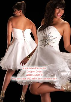A-line Sweetheart Knee-length Organza White Prom Dresses #BUSA0245191