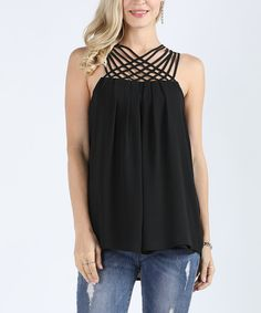 Love this Suzanne Betro Black Cage Racer Tank - Plus Too by Suzanne Betro on #zulily! #zulilyfinds