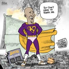 """Kobe Bryant'slast """"victory lap"""" season turned out to be good for his ego, not for the team. Cartoon by Rob Tornoe."""