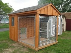 Enclosed Kennel. Buy a 10x10x6 kennel and build around it. Maybe use the fourth panel on the ground to prevent digging and cover it with sod instead of building on a deck platform.