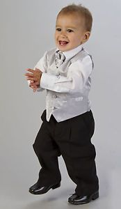Baby Boys Page Boy Outfit Silver Pink Gold 4pc Wedding Waistcoat Suit Age 3m 8y