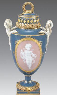 Meissen Pate-sur-Pate potpourri vase;