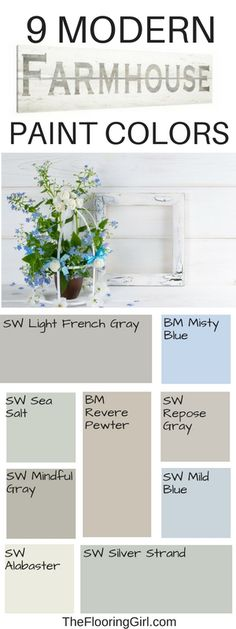 Best shades of paint for a modern farmhouse style. Bauernhaus Dekor Farmhouse style paint colors and decor Farmhouse Paint Colors, Paint Colors For Home, Rustic Paint Colors, Light Blue Paint Colors, Cottage Paint Colors, Farm House Colors, Country House Colors, Fixer Upper Paint Colors, Modern Paint Colors