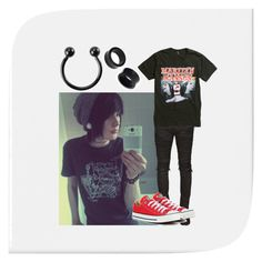 """emo boy"" by ashley-asylum ❤ liked on Polyvore featuring Balmain, Hot Topic, Converse and NOVICA"