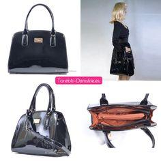 Najnowszy model #torebki damskiej marki David Jones z kolekcji 2015 - lakierowany ekskluzywny kuferek http://torebki-damskie.eu/czarne/644-piekna-czarna-lakierowana-torebka-david-jones.html
