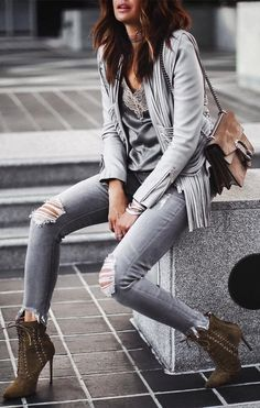#fall #outfits Grey Cardigan // Destroyed Skinny Jeans // Suede Ankle Boots