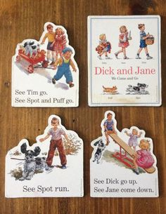 See Spot Run Retro Book Magnets Set of 4 by Piklandia on Etsy