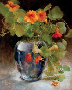 """Late Summer Nasturtiums"" - ""Nasturzi di tarda estate"" by Rosemary Ladd Oil on Canvas 8×10 in. ""Late Summer Nasturtiums"""