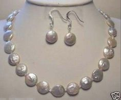 Genuine 11-12MM White Coin Pearl Necklace18'' Earrings Set #Unbranded #Pendant