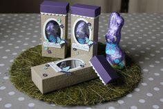 Osterliche Geschenkverpackung für einen Osterhasen, den Milka-Schmunzelhasen mit den Framelits Oval-Kollektion und der Prägeform Pfeile von Stampin' Up!