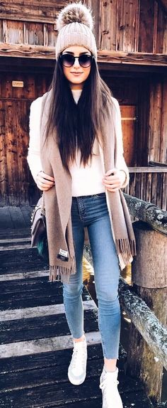 #winter #fashion //  Bleached Skinny Jeans // White Sneakers // White Top // Grey Beanie // Brown Carf.