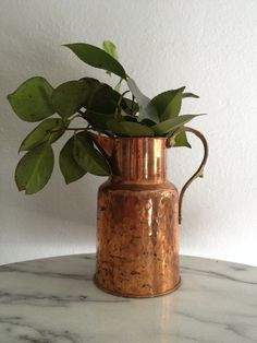 Rustic Patina, Hammered Copper and Brass Pitcher, very cottage chic  - Ideal for a Vase or Utensil Holder