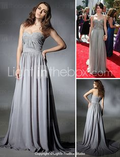 Sweetheart Chiffon Evening Dress with Beading inspired by Selena Gomez at Emmy Awards - USD $ 178.19
