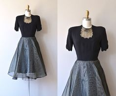 Singsong dress • 1940s dress • vintage 40s dress - Vintage late 1940s black rayon bodice dress with scalloped keyhole neckline, short sleeves, small tie, fitted waist, side hook and eye closures and full layered skirt with the outer most layer being sheer black net.