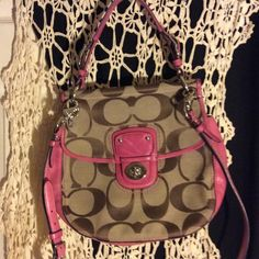 Pink & khaki Coach large Willis Crossbody bag These are along the lines of limited edition bags as well. In excellent condition. Used a few times, I love this bag but I really need the money. In March I was in a serious accident and my truck was totalled. So I'm selling whatever I can to get another, I will be listing ALOT! Coach Bags Crossbody Bags