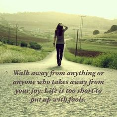Wall away from anything or anyone who takes away from your joy.   Life is too short to put up with fools