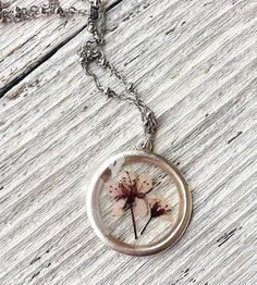 Sand Cherry Pressed Flower Necklace by KateeMarie on Scoutmob Shoppe