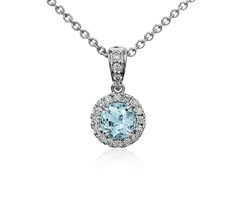 Blue Nile Aquamarine and Micropave Diamond Halo Pendant in 18k White Gold (5mm)