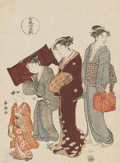 """Taking A Child To A Lesson"". Ukiyo-e woodblock print. About 1780's, Japan, by artist Katsukawa Shuncho"