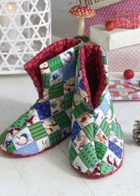 Free sewing pattern: quilted slippers, or better still, quilt as you go slippers :)