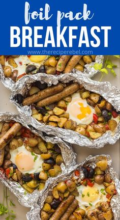 Breakfast Foil Packs are an easy camping meal, loaded with breakfast potatoes, sausage and eggs. Great on the grill, over the fire, or in the oven! #breakfast #grilling #camping | camping recipes | camping meals | foil packets | camping breakfast Easy Camping Breakfast, Breakfast Egg Bake, Grill Breakfast, Best Camping Meals, Breakfast Potatoes, Camping Recipes, Breakfast Dishes, Camping Menu, Camping Ideas