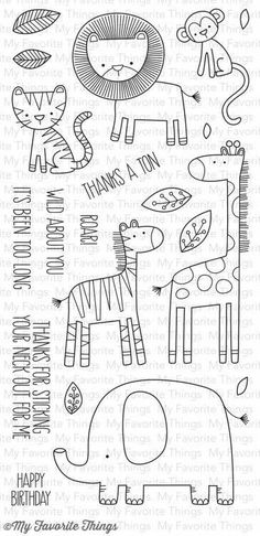 """MFT STAMPS: Sweet Safari x Clear Photopolymer Stamp Set) This Package contains Sweet Safari, a 20 piece set including: Lion x Monkey 1 x 1 ¾"""", Tiger 1 ¼"""" x 1 Zebra 1 ¾"""" x 2 Doodle Drawings, Easy Drawings, Doodle Art, Mft Stamps, Digital Stamps, Clear Stamps, Zentangle, Embroidery Patterns, Hand Lettering"""