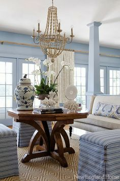 Chinoiserie Chic: The Top Twenty Blue and White Rooms - LOVE the lumbar pillow!!!  As seen in New England Home and the Pink Pagoda Blog