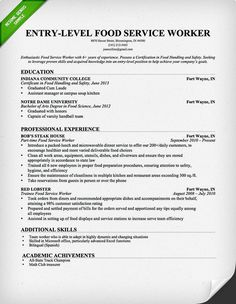Food Service Worker Resume Sample - Use This Food Service Industry ...