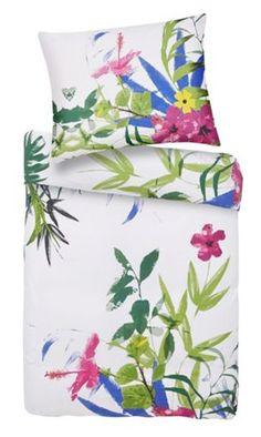 Bettwäsche aus 100% Polyester mit bunten Blättern. B/H: ca. 140/200cm und 70/90cm.