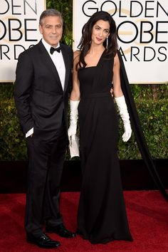 Their first red carpet together as a married couple, George & Amal Clooney at Golden Globe Awards 2015 - Jan. 11, 2015